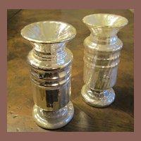 A Pair Of Antique Silver Mercury Glass Vases, Circa 1880