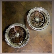 Pair Of English Silver Plate Wine Coasters, Circa 1930