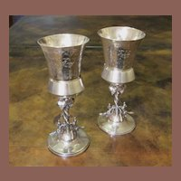 Silver Plate Pair Of Figural  Wine Goblets, Circa 1890