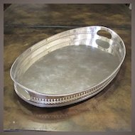 English Silver Plate Oval Gallery Tray, Circa 1930