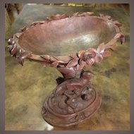 Black Forest Hand Carved Pedestal Bowl With Birds, Circa 1900