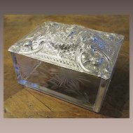 Victorian Silverplate and Etched Glass Cupid With Angels Box, Circa 1890
