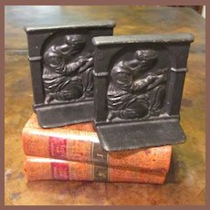 Pair Of Vintage Cast Iron Figural Bookends, Circa 1920