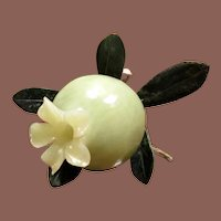 Vintage Carved Jade Pomegranate, Circa 1950