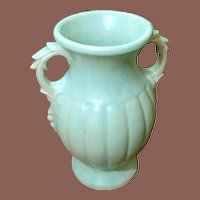 Large Vintage McCoy Pale Blue Green Vase, Circa 1940