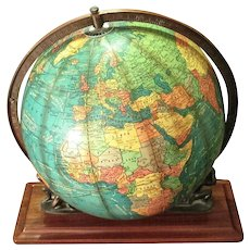 """Rare 12"""" Cram Lighted Terrestrial Globe Supported By Twin Atlases"""
