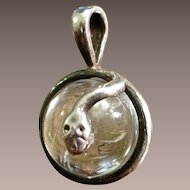 Vintage Rock Crystal Orb With Sterling Snake Pendant