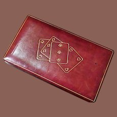 Vintage Italian Leather Playing Card Box, Circa 1950