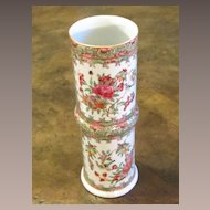 Antique Chinese Export Rose Medallion Cylindrical Vase, Circa 1860