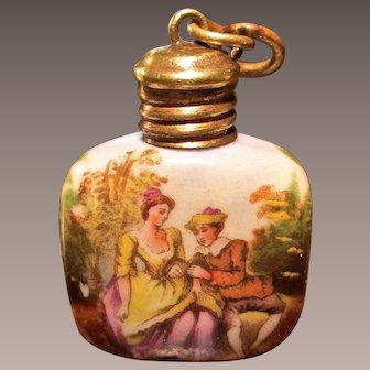 Antique Miniature Porcelain Scent Or Perfume Bottle, Circa 1900