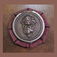 Vintage American Indian Beaded Coin Purse With Silverplated Indian Head, Circa 1903