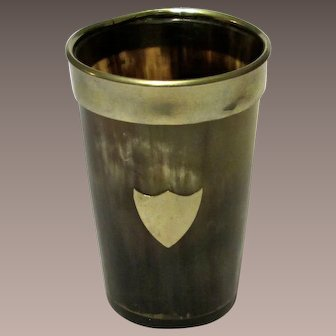 Antique Silver And Horn Beaker With Shield Design, Circa 1890