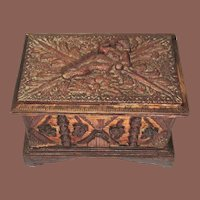 Folk Art Burnt Matchstick Hinged Box With Reclining Nude, Circa 1930