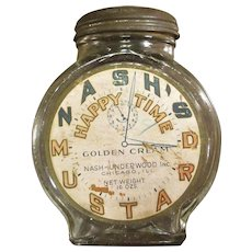 Vintage Nash's Happy Time Mustard Jar, Circa 1930
