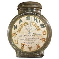 Vintage Nash's Happy Time Mustard Jar, Circa 1930