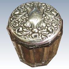 Large Ornate Sterling And Glass Dresser Jar, Circa 1910