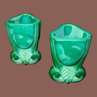 Two Malachite Glass Art Deco Liqueur Glasses, Circa 1930