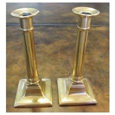 A Pair Of Antique Brass Federal Style Candlesticks, Circa 1860