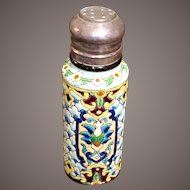 Antique Longwy Pottery Enameled Faience Shaker, Circa 1880