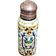 Antique Longwy Pottery Enameled Faience Shaker, Circa 1880