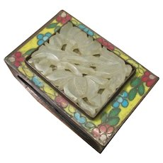 Cloisonne And Carved Jade Match Box Holder