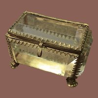 Antique French Beveled Glass Trinket Box