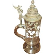 Antique Glass Beer Stein With Enamel Overlay