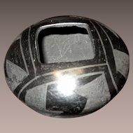 Miniature Santa Clara Pueblo Indian Black Pottery Bowl, Artist Signed