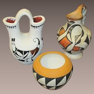 Three Vintage Native American Indian Pottery Pieces