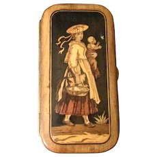 Antique Italian Souvenir Wood Inlay Cigar Case