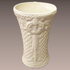 McCoy Embossed Cream Color Basket Weave Vase, 1932