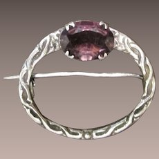 Scottish Sterling Silver With Amethyst Glass Stone Pin/Brooch