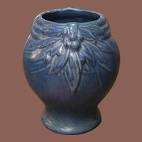 1930's McCoy Leaves And Berries Cobalt Blue Vase