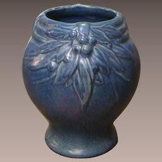1930's McCoy Leaves And Berries Cobalt Blue Vase