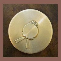 """Vintage Dorothy Gray Goldtone Loose Powder """"Picture Hat"""" Compact, Circa 1940"""