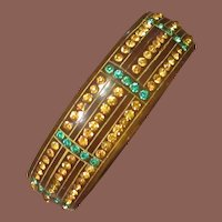 Vintage Art Deco Celluloid Rhinestone Bangle Bracelet, Circa 1930