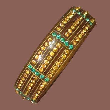 Vintage Art Deco Celluloid Rhinestone Bangle Bracelet, Circa 1930