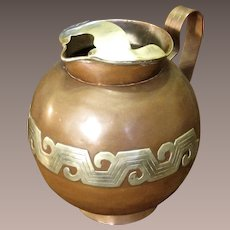 Vintage Taxco, Mexico Mixed Metals Water Pitcher, Circa 1950