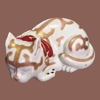 Large Japanese Kutani Porcelain Sleeping Cat Figurine
