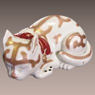 Large Japanese Kutani Porcelain Sleeping Cat Figurine