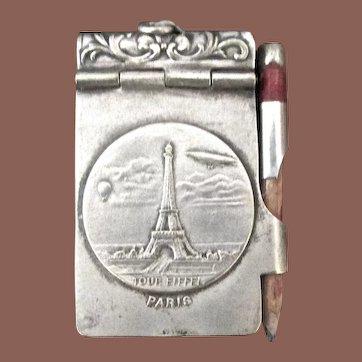 Silver Plate Eiffel Tower Souvenir Note Pad, Circa 1925