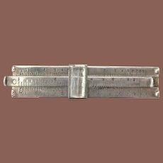 Vintage Sterling Silver Novelty Slide Rule Tie Clip