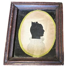 """Antique Silhouette In The Style Of """"Puffy Sleeve"""" Artist, Circa 1830"""
