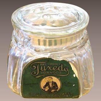 Patterson's Tuxedo Tobacco Glass Jar, Circa 1910
