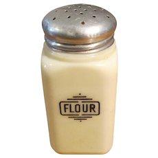 Vintage McKee Art Deco Custard Glass Flour Shaker, Circa 1930