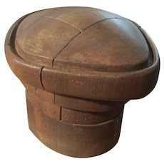 Vintage Wood Hat Mold, Five Piece Puzzle Form