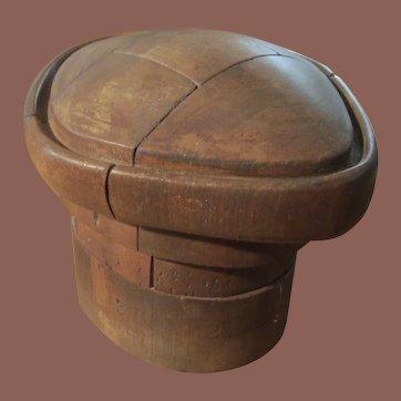 Vintage Wood Hat Mold, Five Piece Puzzle Form
