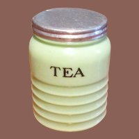 Vintage Jadeite Jeannette Green Ribbed Glass Tea Canister, Circa 1930