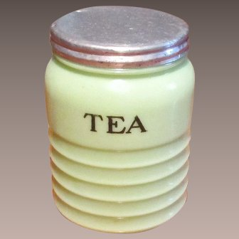 Vintage Jadeite Jeannette Green Ribbed Glass Tea Canister, Circa 1930