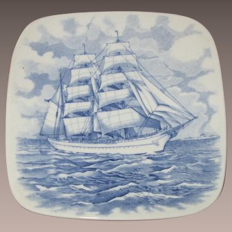 "Wedgwood USCG Academy Training Ship ""EAGLE"" 5 Inch Square Plate"